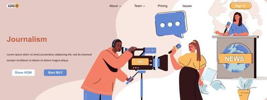 Journalism web banner for social media promotional materials vector