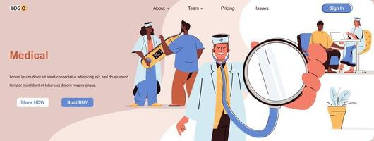Medical clinic web banner for social media promotional materials vector