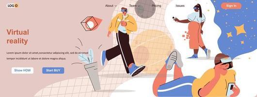 Banner web de realidad virtual para materiales promocionales en redes sociales. vector