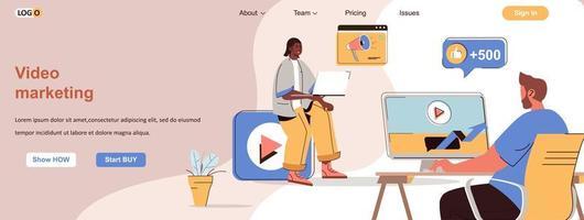 banner web de video marketing para materiales promocionales en redes sociales vector