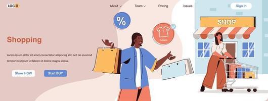 Shopping web banner for social media promotional materials vector
