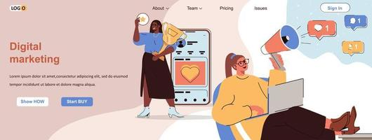 Banner web de marketing digital para materiales promocionales en redes sociales. vector