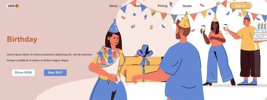 Birthday web banner for social media promotional materials vector