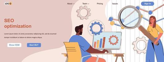 Seo optimization web banner for social media promotional materials vector