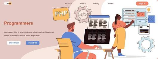 Programmers web banner for social media promotional materials vector