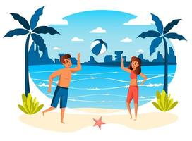 Summer vacation isolated scene vector