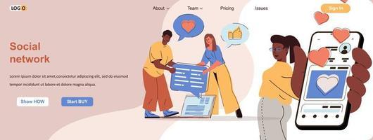 Social network web banner for social media promotional materials vector