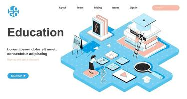 Education isometric concept for landing page vector