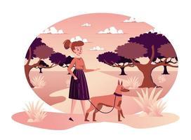 Mujer paseando a un perro en el parque de otoño escena aislada vector