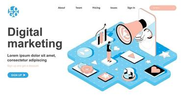 Digital marketing isometric concept for landing page vector