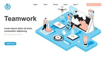 Teamwork isometric concept for landing page vector