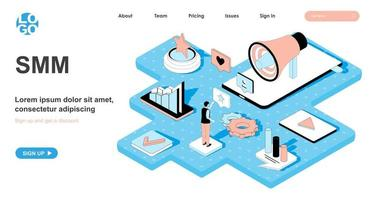 SMM isometric concept for landing page vector