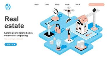 Real estate isometric concept for landing page vector