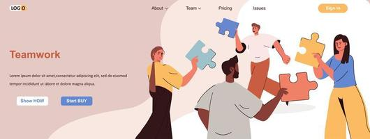 Teamwork web banner for social media promotional materials vector