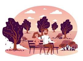 pareja sentada en un banco en otoño parque escena aislada vector