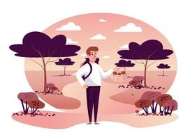 Man picking mushrooms in autumn park isolated scene vector
