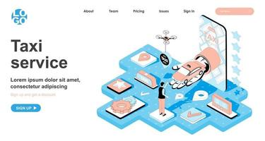 Taxi service isometric concept for landing page vector