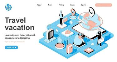 Travel vacation isometric concept for landing page vector