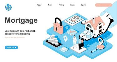 Mortgage isometric concept for landing page vector