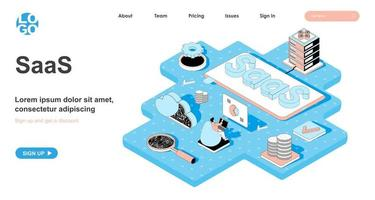 SaaS isometric concept for landing page vector