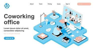 Coworking office isometric concept for landing page vector