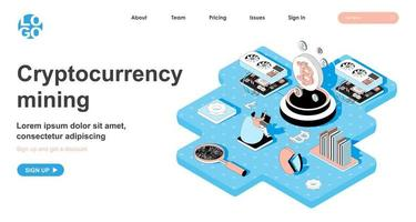 Cryptocurrency mining isometric concept for landing page vector
