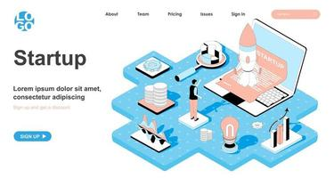 Startup isometric concept for landing page vector