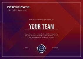 blue certificate design for gaming or sport tournament and competition vector