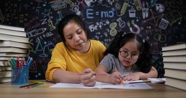 Mom and Little Daughter Drawing and Paint with One Another video