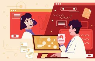 Doctors Video Call and Teleconsultation Concept vector