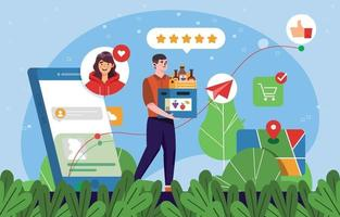 Delivery Man Drop Off Groceries and Get Good Rating vector