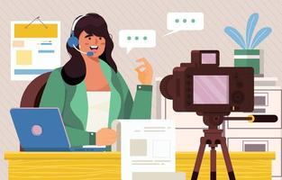 Woman Podcaster Record Video Podcast Concept vector