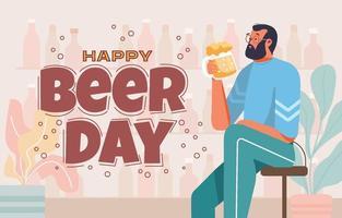 Man Celebrate Beer Day vector