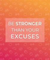 Motivation quote, poster for gym with fitness icons vector