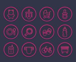 baby line icons set, toys, pram, pacifier, crib, diaper vector