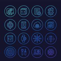 desarrollo, servicio de configuración, api, conjunto de iconos de línea de configuración vector