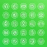 Currency, forex trading, financial operations line icons set vector