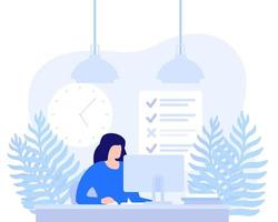 woman working at computer, deadline, task completion vector