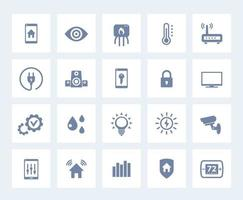 Smart house, home automation system vector icons set on white