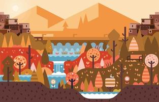 Autumn Waterfall Landscape With Mountain and Urban Buildings vector