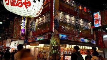 Time lapse tsutenkaku market street dans la ville d'Osaka, Japon video