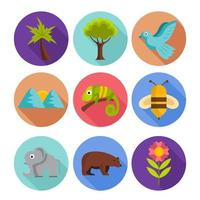 Nature Flora and Fauna Icon Set vector