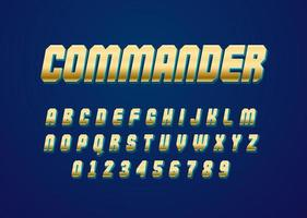 3d chrome gold style vector font with uppercase and digit number