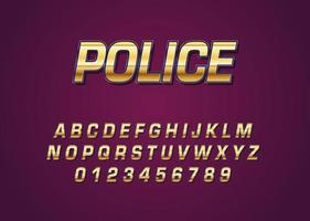 Police chrome gold style vector font with uppercase and digit number
