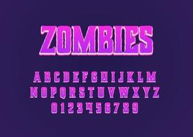Zombies cartoon movie style vector font alphabet uppercase and number