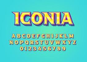 Fuente de vector de estilo divertido colorido alfabeto en mayúsculas y número de dígitos