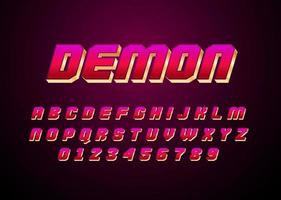 Demon red and gold style vector font with uppercase and digit number