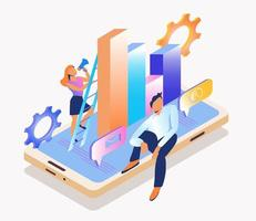 Conceptual web seo illustration. Work in a young team. Flat isometric vector