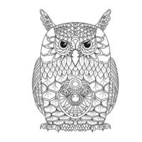 Line art. Abstract image of an monochrome owl. Coloring book vector