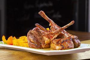 Roasted lamb chop photo
